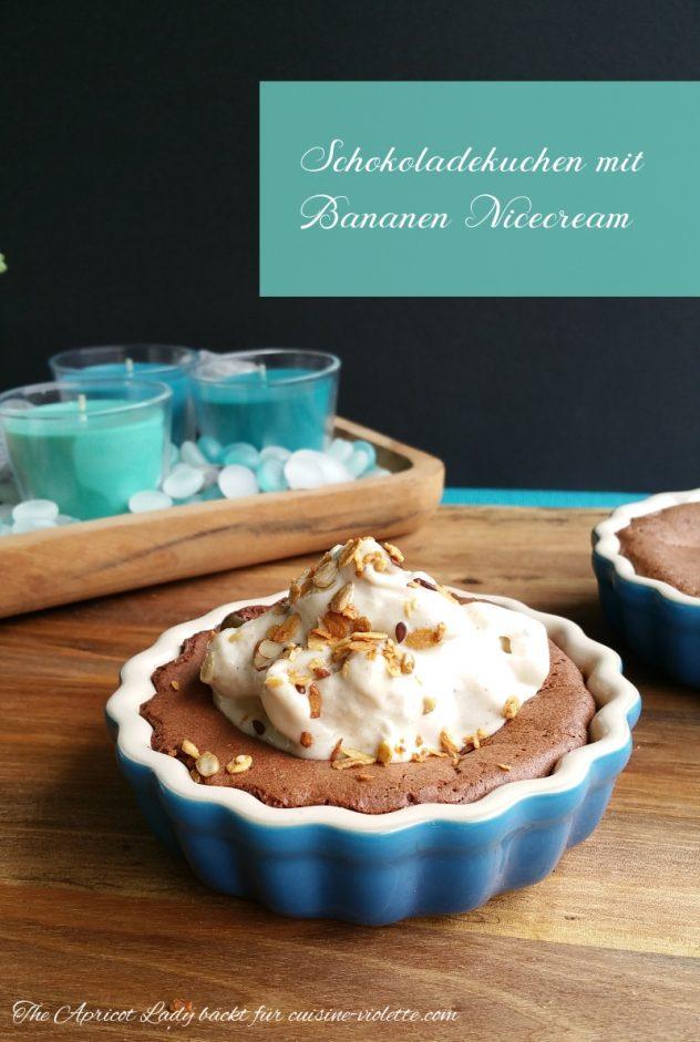 Schokoladadekuchen ohne Mehl und Bananen Nicecream