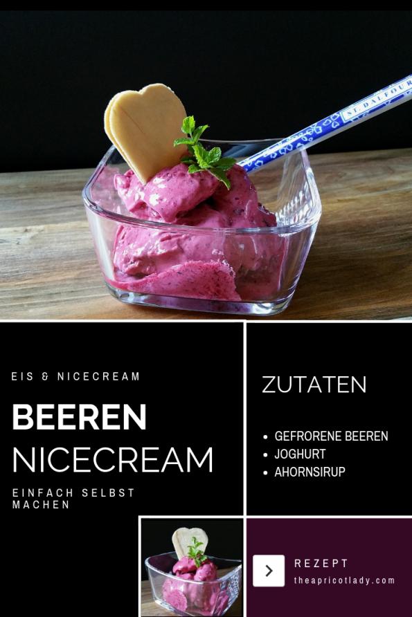 Nicecream die einfache Art Eis selbst zu machen! gefrorene Beeren mit Joghurt und Ahornsirup mixen. #rezepte #beeren #eis #selbst gemacht