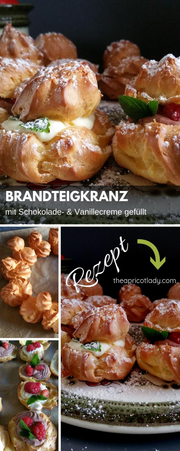 Rezept und Anleitung für Brandteigkranz mit süßer Fülle. #backen #rezepte #yummy #schokolade #vanille #gefüllt