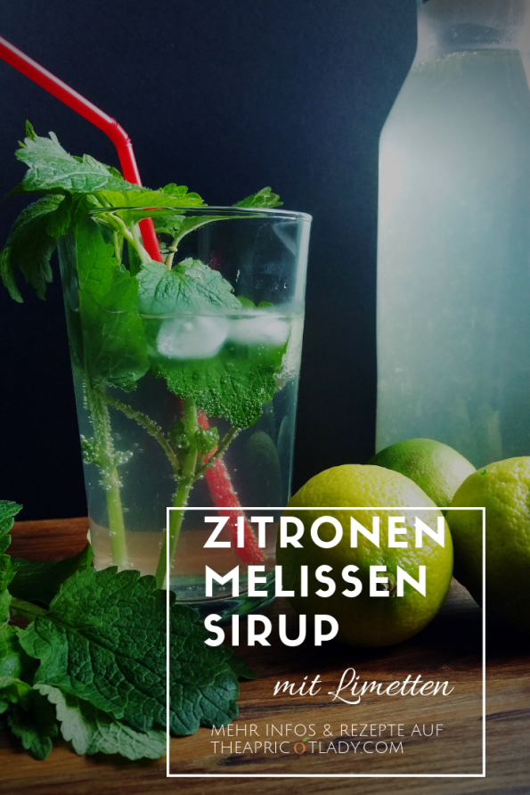 Zitronenmelissensirup im Glas, Zitronenmelissen und Limetten