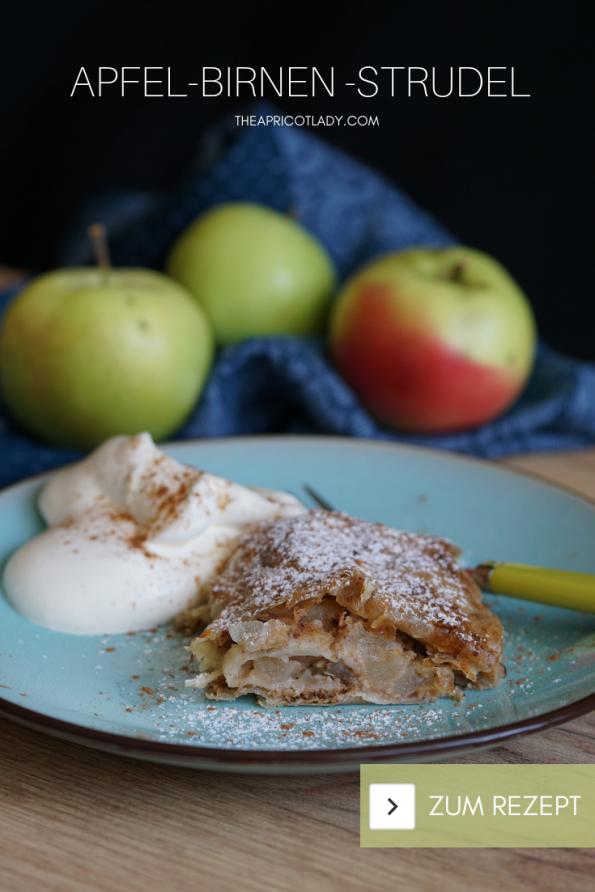 Rezept für Apfel-Birnen-Strudel mit ausgezogenem Strudelteig. Kösliches Rezept aus der Alpenküche - wie von Oma! #austrianfood #strudel #selbstgemacht #yummy #süß
