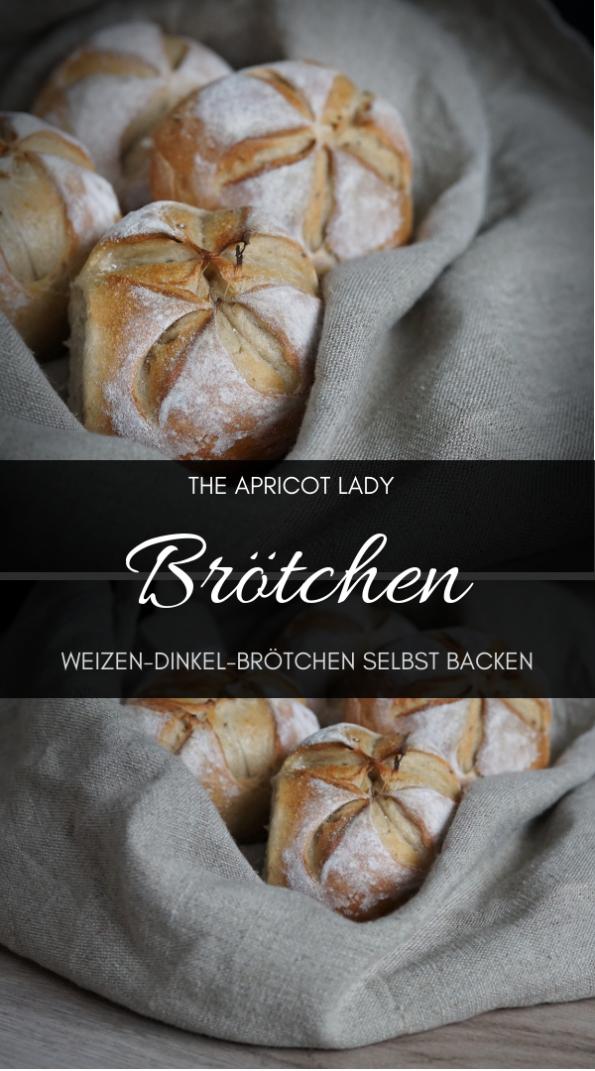 Rezept für vegane Weizen-Dinkel-Brötchen. Backen im Gusseisentopf. Rezept mit wenig Hefe und langer Ruhezeit. #Gebäck #Brötchen #vegan