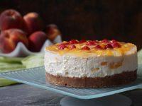 Cheesecake mit weißer Schokolade & Pfirsich – Happy Blogbirthday KittyCake