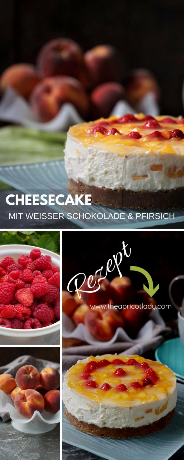 Rezept für Cheesecake mit weißer Schokolade & Pfirsich – no bake, esay. #rezepte #cheesecake #nobake #schokolade #süsses