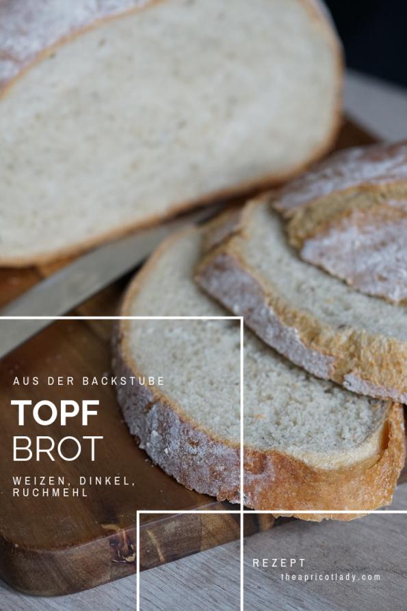 Rezept für Weizen-Dinkel-Ruchmehl-Brot aus dem Topf. #rezepte #brot #selbstbacken #bakcen #hausgemacht