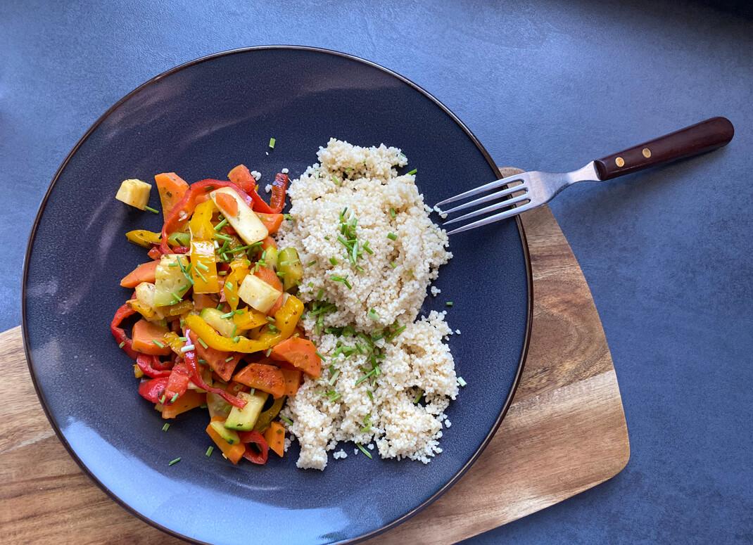 schnelle Gemüsepfanne mit Couscous - The Apricot Lady